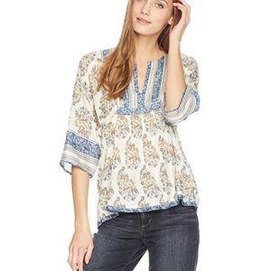 Lucky Brand Mixed Print Peasant Top Medium